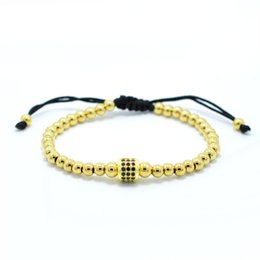 Wholesale Macrame Charms - Anil Arjandas Bracelet Gold Micro Pave Black CZ Stoppers Beads Briading Macrame Bracelets For Men Jewelry Stainless Steel