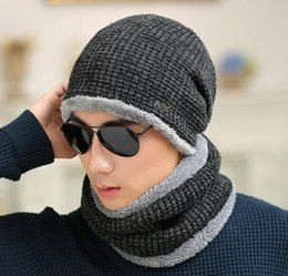 Wholesale Muffler Scarf Solid - ski set male winter sheep knitted hat winter hat beanies for men women cap cold thermal muffler scarf new year father gfit
