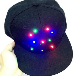 Wholesale Hip Hop Party Supplies Wholesale - Unisex Caps Fashion LED Lighted Glow Club Party Black Fabric Hat Hip-Hop Jazz Stage Dance Performance Flashing Props ZA3326