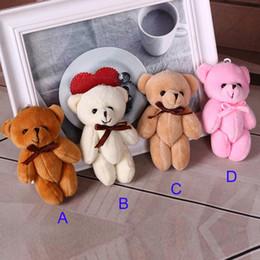 Wholesale Anime Tie - 4 Color 11cm Kids Plush pendant diy bow tie Bear pendant Lovers Stuffed Animals figure birthday present Plush dolls gift toys B001