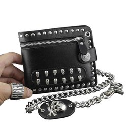 2019 carteras de cuero para niños Venta al por mayor Mens Boys Rock Punk Rivet Metal Skulls Studded Black Leather Zipper Wallet With A Chain carteras de cuero para niños baratos