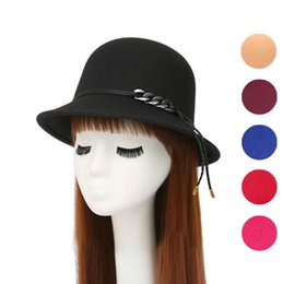 ladies dome hat style Promo Codes - Hot sale New autumn and winter British style pots ladies imitation wool woolen dome hat leather rope hat ceremony cap M018 with box