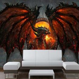 Великолепные фото онлайн-Оптовая продажа-3D дракон фото обои большие обои уникальный интерьер арт-деко спальня детская комната PAPEL де parede 3D обои