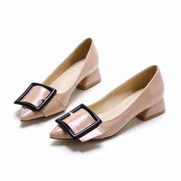 Wholesale Nude Low Heels - New Arrival Women Low Heels Shoes Pointed Toe Buckle Pumps Office Lady Shoe Patent Leather Nude Black for Lady
