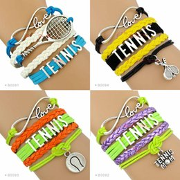 Wholesale Tennis Mom - (10 Pieces Lot) Infinity Love Tennis Wrap Bracelet Tennis Mom Gift for Tennis Player Custom Any Themes Drop Shipping