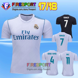 Wholesale wholesale real madrid - Thai Quality 2017 New Real madrid soccer Jersey Uniforms17 18 RONALDO home white away Black JAMES BALE RAMOS ISCO MODRIC football shirt
