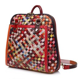 Wholesale Waxed Backpack - 2017 European fashion leather hand woven bag wax leather backpack Shoulder Messenger Bag