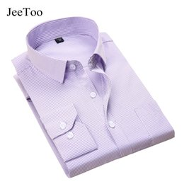 Wholesale Wholesale Mens Striped Shirts - Wholesale- 2017 New Mens Striped Shirt Cotton High Quality Plaid Dress Shirts Men Casual Slim Fit Long Sleeve Shirt Social Men Clothes 5XL