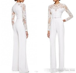 Wholesale Woman Long Evening Wear Dress - 2017 new White Mother Of The Bride Pant Suits Jumpsuit With Long Sleeves Lace Embellished Women Formal Evening Wear Custom Made 255