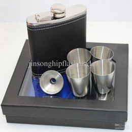 Wholesale Glass Flasks - 7oz Black pu leather hip flask with 4 shot glass and funnel in black gift box