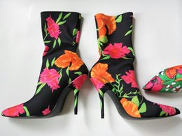 Wholesale White Bootie - 14 Colors Flower Blossom Ankle Boots For Women Extreme Pointed Toe Knife Bootie Sock Boots Woman Fetish High Heels Pumps Casual Shoes