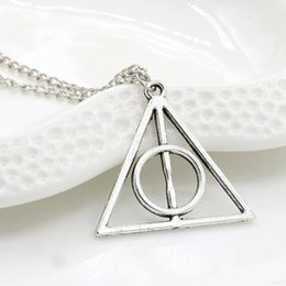 Wholesale Cooper Antique - Harry Potter and the Deathly Hallows triangle necklace pendant link chains sweater chain necklace antique cooper gold silver Color necklaces