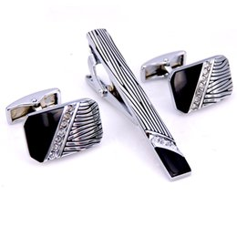 Wholesale Leopard Ties For Men - C-MAN Stainless Steel Leopard Print Crystal Cufflinks and Tie Clip Clasp Bar Set Brand Gift For Men French Shirt High Quality