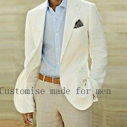 Wholesale Two Piece Linen Casual Suit - Wholesale- Summer Beach Linen Suits Ivory Wedding Suits Casual Notched lapel Grooms Tuxedos Two Piece One Button Slim Fit Groomsmen Suit