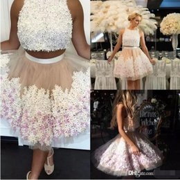 Wholesale Unique Flowered Prom Dresses - Two Pieces Short Homecoming Dresses 2017 Jewel Neck with 3D Floral Flowers A Line Knee Length Unique Style Graduation Gowns Prom Party Wear