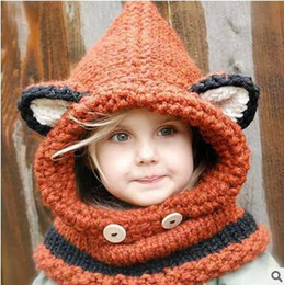 Wholesale Spring Color Scarves - INS HOT Winter Fox Shawl Cap For Little Kids Baby Autumn Wool Knitting Hat With Scarf Windbreak Keep Warm Kids Cap 2 Color