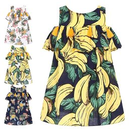 Wholesale Banana Boats - Robe Enfant Kids Dress 2017 Brand Summer Kids Dresses for Girls Costumes Banana Pineapple Printing Princess Dress with Tassel