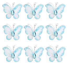 50pcs Blue Wired Mesh Stocking Glitter Butterflies with Gem wire mesh farfalle glitter da