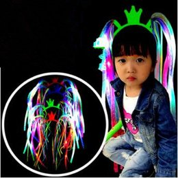 Wholesale Christmas Decoration Headband - Plastic Luminous Hairband Flash LED Light Up Noodle Braid For Masquerade Party Decoration Headband CCA7318 60pcs
