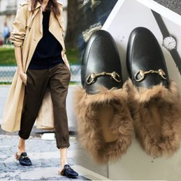 Wholesale Suede Blue Bag - Newest Women Shoes Fur Mule leather flat Suede Metal Chain Slippers Loafers Shoes fashion outdoor slippers (With receipt dust bags boxes)