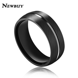 Wholesale Male Scrubs - Wholesale- NEWBUY Brand Classic Design Stainless Steel Blue Scrub Ring For Men 8mm Wide Male Ring Jewelry US Size 7 8 9 10 11