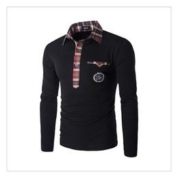 Wholesale Polo Shirt Long Sleeve Pocket - Polo T-shirts Autumn&winter Fashion Lattice Stitching Collar Men's Casual Embroidery Pocket Set Head Slim Fit Golf Polo T-shirts US Size:XS-