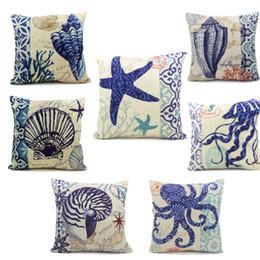 Dibujo de algodón online-Sostenga la funda de almohada de algodón Cojín del sofá del océano mediterráneo Sandy Beach Shell decorativo Home Textile Custom Drawing Nuevo 9 5ll A R