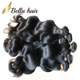 Wholesale Indian Natural Wave - 7A Brazilian Hair Extensions Dyeable Natural Color Peruvian Malaysia Indian Virgin Hair Bundles Body Wave Human Hair Weave julienchina bella