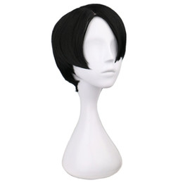 Wholesale Rivaille Wig - wig wig QQXCAIW Short Straight Cosplay Levi   Rivaille Black 30 Cm Synthetic Hair Wigs