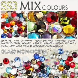 Wholesale Nail Ss3 - Wholesale-SS3 1.3-1.4mm Mix Colors Nail Art Rhinestones 1440pcs bag Glass Strass Non HotFix FlatBack Crystal DIY Nails Decoration Glitters