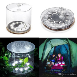 Wholesale Led Solar Powered Portable Lantern - 10 Leds Inflatable Solar powered lamp outdoor waterproof for Garden Camping Emergency LED Lantern night light
