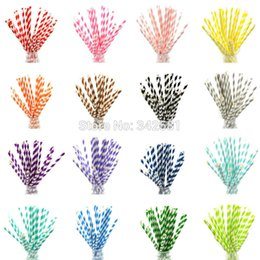 Wholesale Vintage Retro Paper Straw - Wholesale-25 pieces bag pack Colourful Paper Drinking Straws Straw Retro Vintage Striped Party Wedding Baby Shower Xmas cocktail buffet