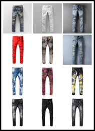 Wholesale White Skinny Jeans Long - New France Pierre Ripped Jeans Men Runway Biker Skinny Slim Denim Trousers Cowboy Famous Brand Zipper Designer Hot Sale Mens Designer Jeans