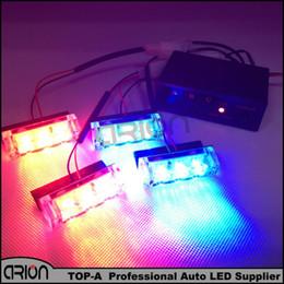 Wholesale green car strobe - 12 LEDs Flash Emergency Strobe Light 12V LED Car Front Grille Deck Strobe Styling 3 Mode Police Dash Lights Red&Blue