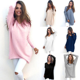 Wholesale Long Kimono Dress Plus Size - Fashion Autumn Winter Dress Womens V-Neck Loose Knitted Over sized Baggy Sweater Jumper Tops Dress Outwear Plus Size S-XL Vestidos