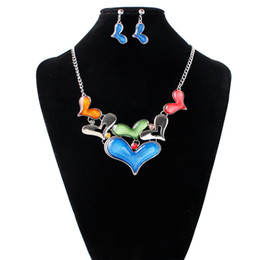 Wholesale Mosaic Necklace Set - Fine Jewelry sets Europe and the new fashion jewelry love color mosaic hollow Necklace Earrings Set wholesale direct