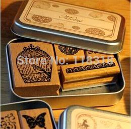 Wholesale vintage wooden stamp set - Wholesale- (6 Styles can choose) DIY Scrapbooking Stamps Vintage Wooden Rubber Ink Pad Stamp Iron Box Sealing Stamp Set