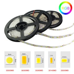 Wholesale Ribbon Leds - LED Strip Lights 5050 3528 5630 3014 2835 SMD Warm White Red Green Blue RGB Flexible 5M Roll 300 Leds Ribbon Waterproof   Non-waterproof