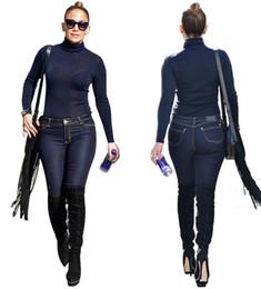 Wholesale Denim Long Sleeve Jumpsuit - Top Quality High Design Women'S Two Piece Sets Bodycon Jumpsuit Denim Rompers Full Sleeve Tops And Bodycon Pants Overalls Outfits