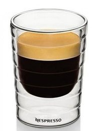 Wholesale Espresso Mugs - Wholesale- Free Shipping Set of 2 hand-blown,double-walled glass Espresso Coffee mug(85ml),set of 2,teacup,Thermo Glass