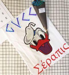 Wholesale Donald Girls - 2017 New Fashion Donald Duck EmbroiderT-shirts Men WOMEN Cartoon Anime T Shirt O Neck Short Sleeve Tops Cotton T-shirt Boy Girl Funny Tshirt