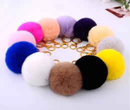 Wholesale Cm Photo - Fashion fur keychains keys 8 CM many colors rabbit fur ball key chain Gift cubre llaves Genuine fur pom pom key ring