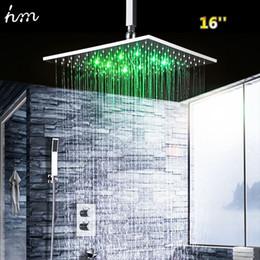 "Wholesale Led Bath Spout - hm 16"" Thermostatic Shower Set & LED Top Showerhead Solid Brass Mixer Wall Mounted Faucet Spout Luxury Bath & Shower Faucets 20170609"