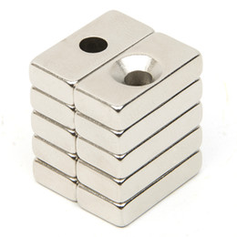 Wholesale Neodymium Magnets N52 Block - Wholesale- 10pcs Hole Block Rare Earth Neodymium Magnet Rectangular Magnet Strong Block Cuboid Permanent Neodymium Magnets Magnet N52