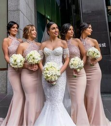 Wholesale Halter Lace Mermaid Wedding Gowns - Sexy Halter Neck Long Bridesmaid Dresses 2017 Sleeveless Lace Top Mermaid Wedding Party Gowns Country Style Maid Of Honor Gowns