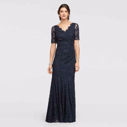 Wholesale Allover Lace - Allover Lace Elbow Sleeved Dress with Scallop Trim 183130 Black Sexy Mother of the Bridal Dres Wedding Party Dress Formal Dresses