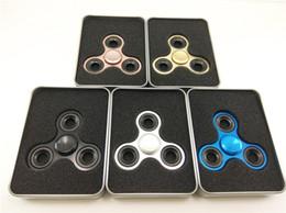 Scatola di ferro in alluminio online-Metal Fidget Spinner Finger Toy Handspinner EDC Alluminio orqbar Ottone Novità Giocattoli bavaglio Anti stress con scatola di ferro di lusso