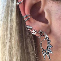 Wholesale Animal Vintage Earrings - Elephant Earrings Set (7 pcs Each Sets ) Moon Star Stud Earrings For Women Vintage piercing Simulated Pearl Jewelry Gift
