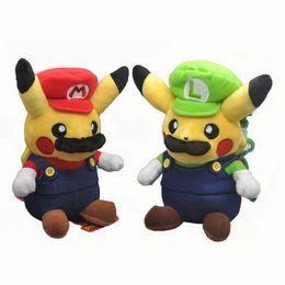 "Wholesale Animal Videos - Hot New 2 Styles 8"" 20CM Mario Pikachu Poke Doll Anime Collectible Stuffed Dolls Animal Gifts Soft Plush Toys"