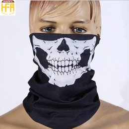 Wholesale Blue White Headband - Hot Sale Face Mask Skeleton Halloween Mask Seamless Multi Function Warm Neck Headband Masks Halloween Party Decoration 7 Colors